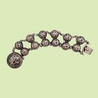 1890 Victorian Russian Sterling Silver Enamel Bracelet