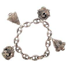 1950s Intricate Silver Multi-Stone Set Charm Bracelet