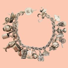 Sterling Silver Japanese 23 Charm Bracelet