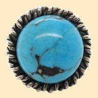 1960s Hand Made Sterling Silver Turquoise Ring Signed Fred Skagg