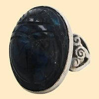 1925 Art Deco Hand Carved Sterling Silver Lapis Scarab Ring