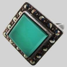1925 Art Deco Sterling Silver Marcasite and Chalcedony Ring