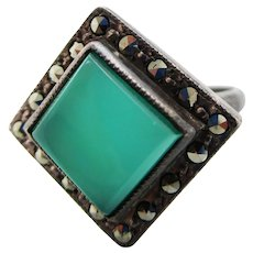 1925 Art Deco Sterling Silver Chalcedony and Marcasite Ring