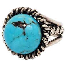 SJM 1960s Handmade Sterling and Turquoise Ring Signed Fred Skagg