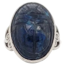 Art Deco 1925 Carved Scarab and Sterling Silver Ring