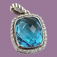 David Yurman Sterling Silver Blue Topaz Diamond Albion Pendant