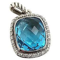 David Yurman Sterling Silver Blue Topaz Diamond Albion Pendant