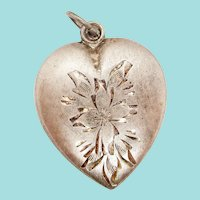 1940s Art Deco Sterling Silver Puff Heart Charm Pendant