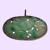 Art Deco Carved Jade Sterling Silver Pendant