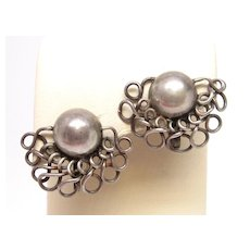 Wm. SPRATLING Sterling Silver Earrings Old Mexican early 1940 taxco