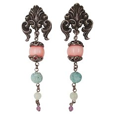 Stephen Dweck Sterling Silver Carved Turquoise Jade Amethyst Dangle Earrings