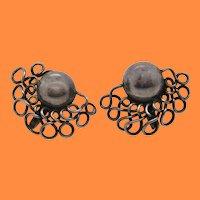 Deco Sterling Silver Spratling Mexican Screw-Back Earrings