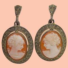 1880 Theodore Fahrner Shell Cameo Vermeil Earrings