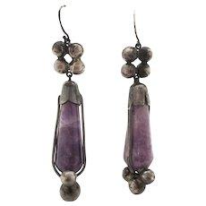 1950s Sterling Silver Amethyst Dangle Earrings