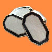 1915 Art Deco Two-Tone Enamel Sterling Silver Cufflinks