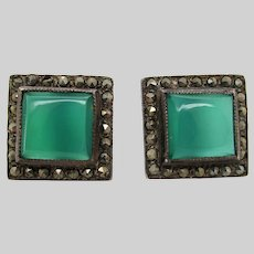 1925 Art Deco Sterling Silver Marcasite and Chalcedony Post Earrings