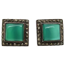 1925 Art Deco Sterling Silver Chalcedony and Marcasite Post Earrings