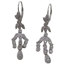 14K White Gold with 1.25 ct. Diamond Drop Earrings