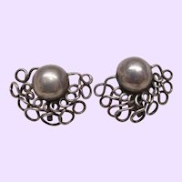 Spratling Hand Made Sterling Silver Dome Earrings Early Mark