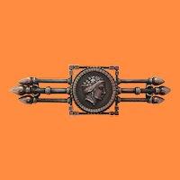 Victorian Greek/Roman Medallion Sterling Silver Pin