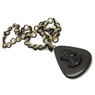Deco Hand Made Bakelite Cameo Necklace & Pendant