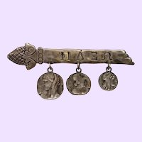 Etruscan Sterling Silver Bar Pin With Homeric Medallions Signed Shiebler