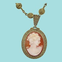 1900 Vermeil Sterling Silver Deco Theodor Fahrner Shell Cameo Necklace