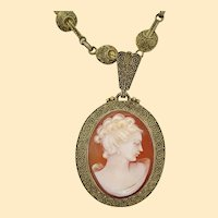 1900 Vermeil Sterling Silver Deco Theodor Fahrner Shell Cameo Necklace