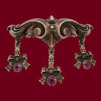 1890 Art Nouveau William B Kerr Sterling Silver and Garnet Pin