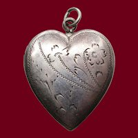 1920 Edwardian Hand Engraved Sterling Silver Heart Locket