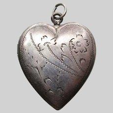 1920 Edwardian Hand Engraved Sterling Silver Heart Locket