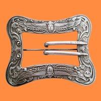 1890 Art Nouveau Unger Brothers Sterling Silver Belt Buckle Brooch