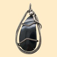 1950s Sterling Silver and Agate Rebajes Signed Pin Pendant