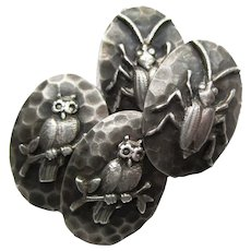 1890's Sterling Silver Beetle and Owl Cufflinks