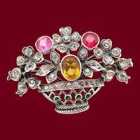 1890 Victorian Sterling Silver Paste Flower Basket Brooch