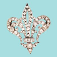1870 Victorian Sterling Silver Rhinestone and Paste Fleur-de-Lis Brooch