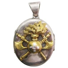 1890 Victorian Sterling Silver and Vermeil Royal Fusiliers Locket