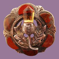 1890 Victorian Sterling Silver Cairngorm & Agate Thistle Brooch