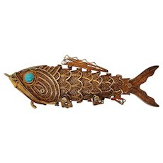 Midcentury Vermeil Turquoise Articulated Carp Fish Hidden Compartment Pendant