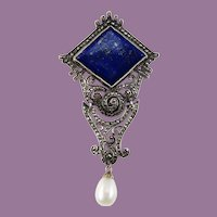 Art Deco Sterling Silver Marcasite Blue Lapis Pin with Pearl Dangle