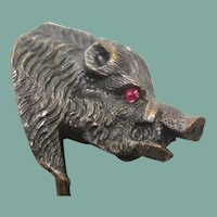 Victorian  Boar  Silver Plate Stick Pin with Garnet Eyes