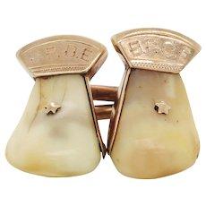 Vintage 14 Karat Rose Gold Elk Tooth Order of Elks B.P.O.E. Cufflinks