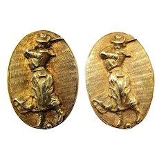 Victorian 14K Yellow Gold Lady Golfer Cufflinks