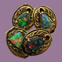 Walton & Co Arts and Crafts 14K Yellow Gold Black Opal Cufflinks