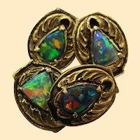 Walton & Co Arts and Crafts 14K Yellow Gold Black Opal Cufflinks