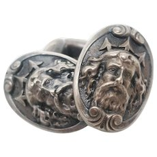 Art Nouveau Sterling Silver Poseidon or Neptune Sea God Cufflinks