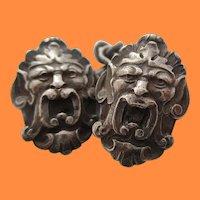 Art Nouveau Sterling Silver Grotesque Mask Cufflinks