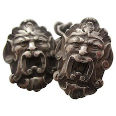 Art Nouveau Sterling Silver Grotesque Mask Cufflinks