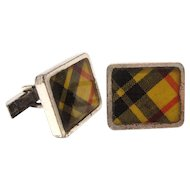 Men's Vintage Sterling Silver Plaid Enamel Cufflinks by Fenwick & Sailors