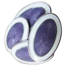 1925 Art Deco Sterling Silver White and Purple Guilloche Enamel Cufflinks